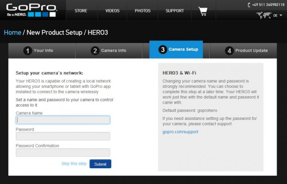 GoPro Hero 3 Black Edition: Access Point einrichten: Unter Kamera Name gibt man den Namen des Access Points (SSID) ein, zu dem man sich später mit dem Smartphone verbindet, um die Kamera über die GoPro-App fernzusteuern.