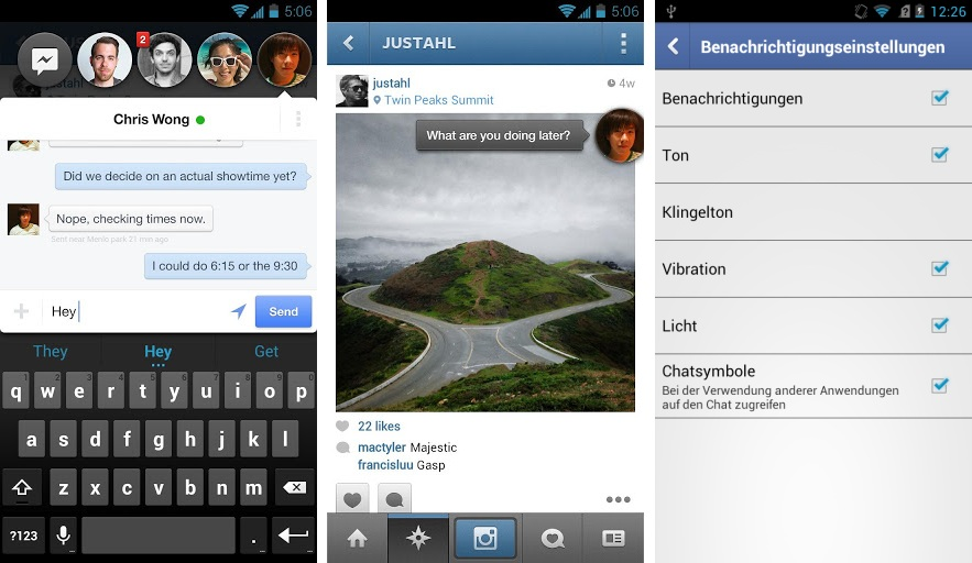 Facebook Messenger ab sofort mit Cheatheads (Foto: Facebook, Screenshot: CNET.de)
