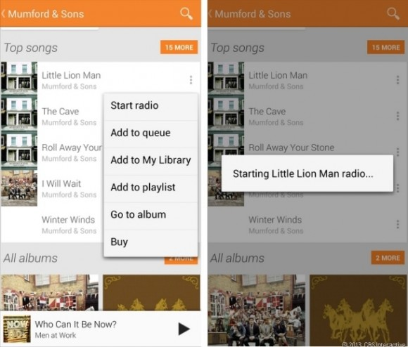 Google Music All Access (Bild: CNET.com)