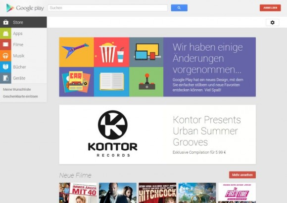 Googe Play Store: Browser-Version erhält Update mit neuem Design (Screenshot: ZDNet.de)