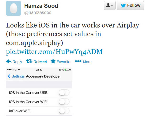 Beta-Version von iOS 7 weist auf AirPlay fürs Auto hin (Screenshot: CNET.com)