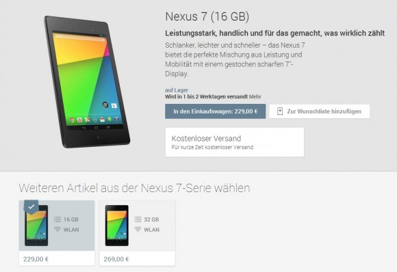 Googles Android-Tablet Nexus 7 (2013) ab sofort in Deutschland erhältlich (Screenshot Google Play: CNET.de)