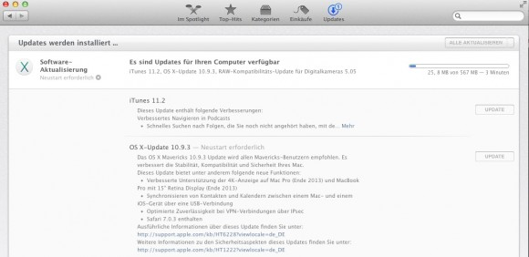 Apple iTunes 11.2 und Mac OS X Mavericks 10.9.3 stehen zum Download