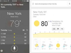Siri (links) und Google Now im Vergleich (Screenshot: Lance Whitney/CNET)