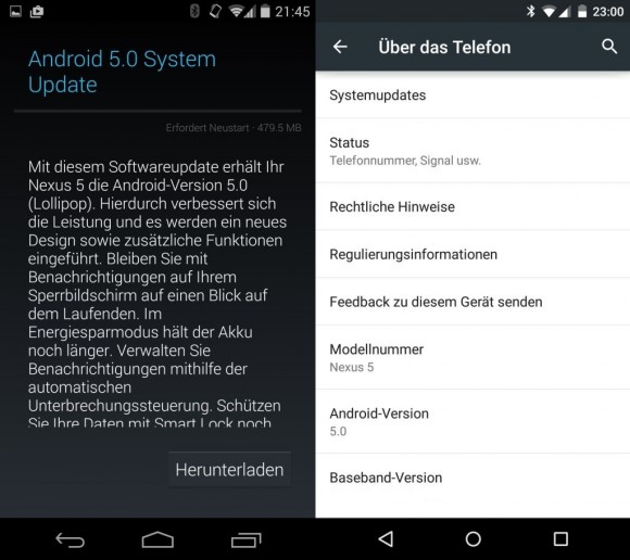Android 5.0 OTA (Screenshot: CNET.de).