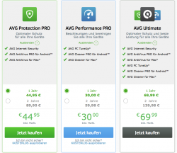 Die neuen Security- und Performance-Pakete von AVG (Screenshot: CNET)