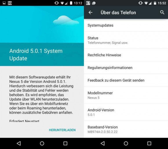 Android 5.0.1 (Screenshot: CNET).
