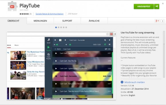 Chrome-Erweiterung PlayTube (Screenshot: CNET.de)
