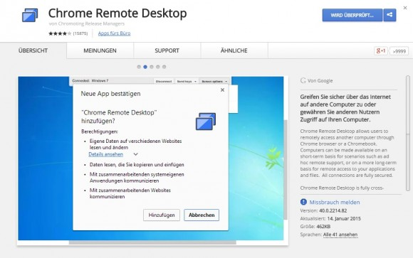 Chrome Remote Desktop (Screenshot: CNET).