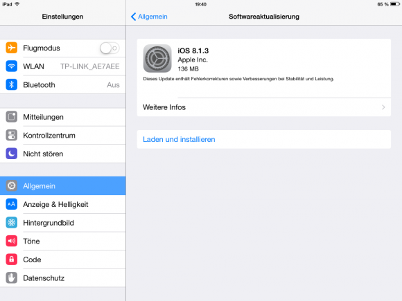 Apple iOS 8.1.3 (Screenshot: ZDNet.de).