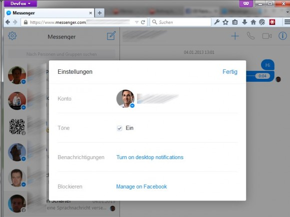 Facebook-Messenger: Desktop-Version (Screenshot: ZDNet.de)