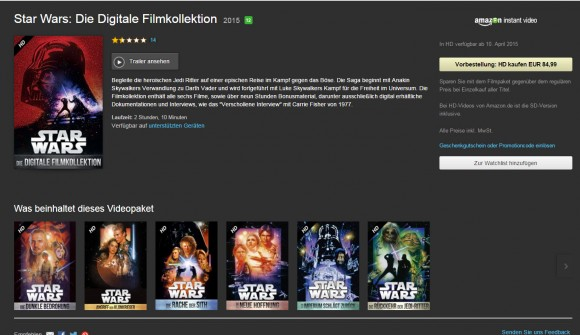 Digitale Version der kompletten Star Wars-Saga auf Amazon Prime Instant Video vorbestellbar (Screenshot: CNET.de)