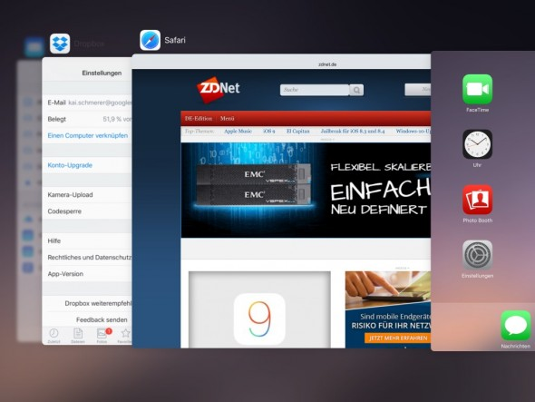 iOS 9: iPad-Multitasking (Screenshot: ZDNet.de)