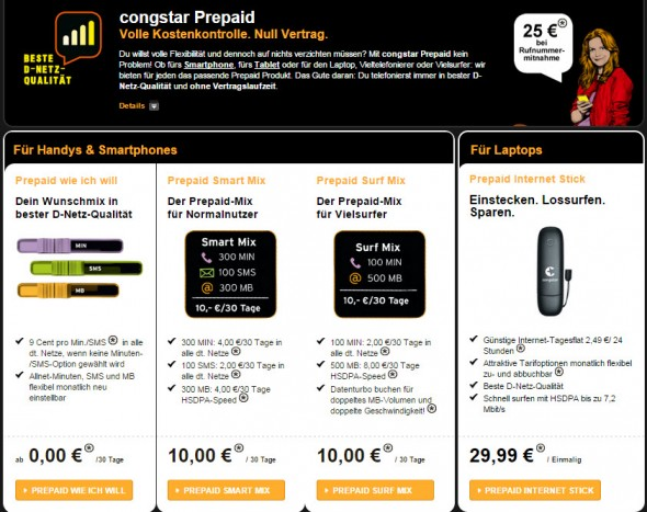 Die Prepaid-Angebote Congstar Smart Mix und Surf Mix (Screenshot: CNET.de)