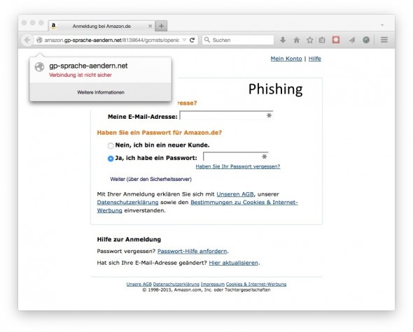 Phishing mit gefälschten Amazon-E-Mails (Screenshot: ZDNet.de)