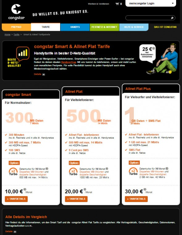 Congstar Postpaid-Tarife (Screenshot: CNET.de)