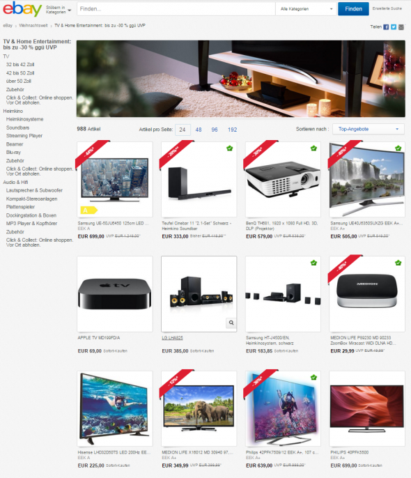 eBay Home Entertainment Deal (Screenshot: CNET.de)