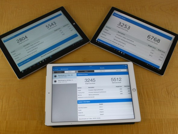 Geekbench: Surface_Pro4, iPad Pro, Surface Pro 3 (Bild: ZDNet.de)