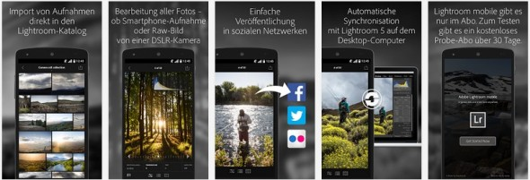 Funktionen von Lightroom Mobile (Bild: via Google Play)
