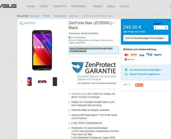 Asus ZenFone Max (Screenshot: CNET.de)