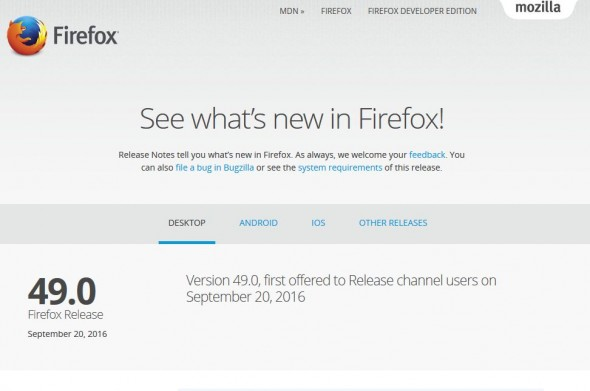 Firefox Version 49.0