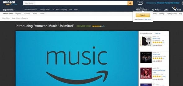 Screenshot von Amazon Music Unlimited