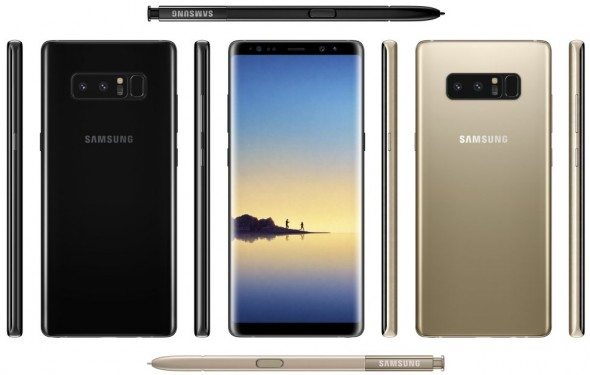 Rendering des Galaxy Note 8 (Bild via @evleaks)